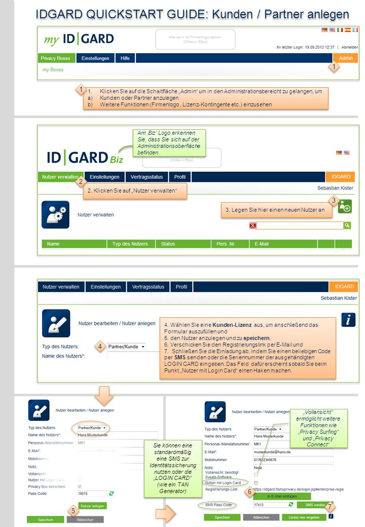 IDGARD QUICKSTART GUIDE: Kunden / Partner anlegen