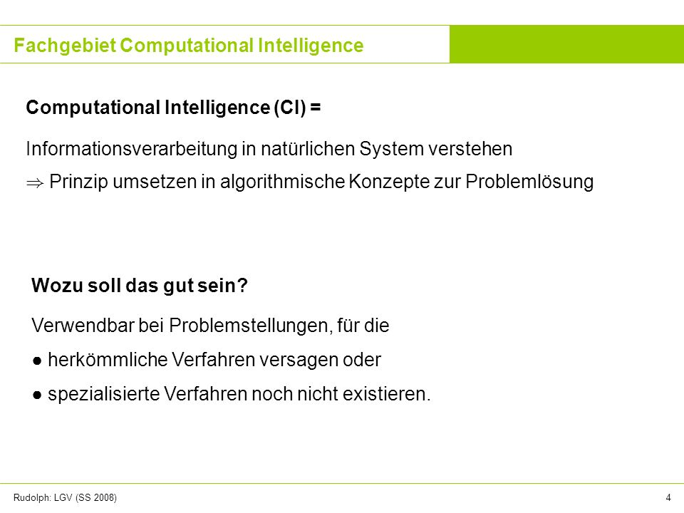 Fachgebiet Computational Intelligence