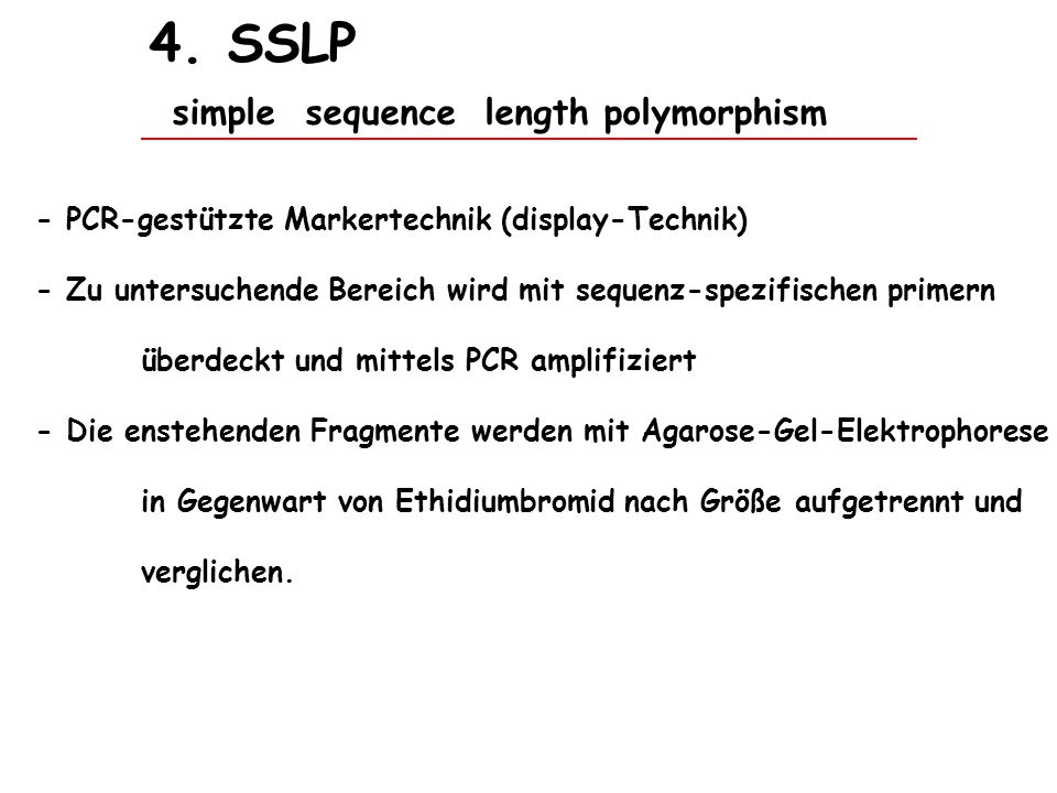 4. SSLP simple sequence length polymorphism