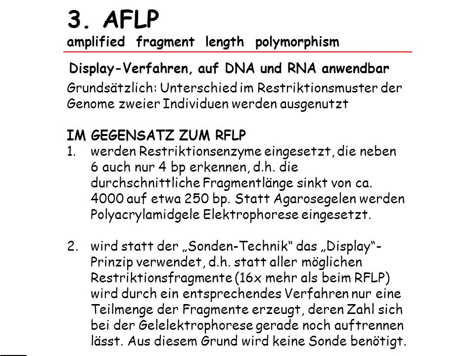 3. AFLP amplified fragment length polymorphism