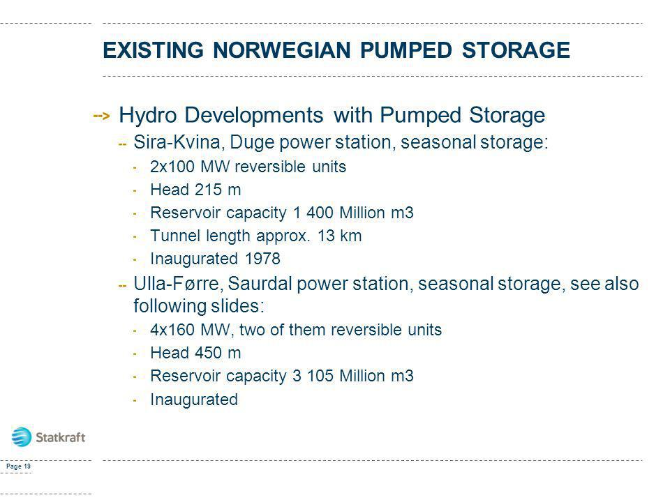 EXISTING NORWEGIAN PUMPED STORAGE