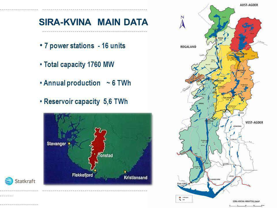 SIRA-KVINA MAIN DATA 7 power stations - 16 units