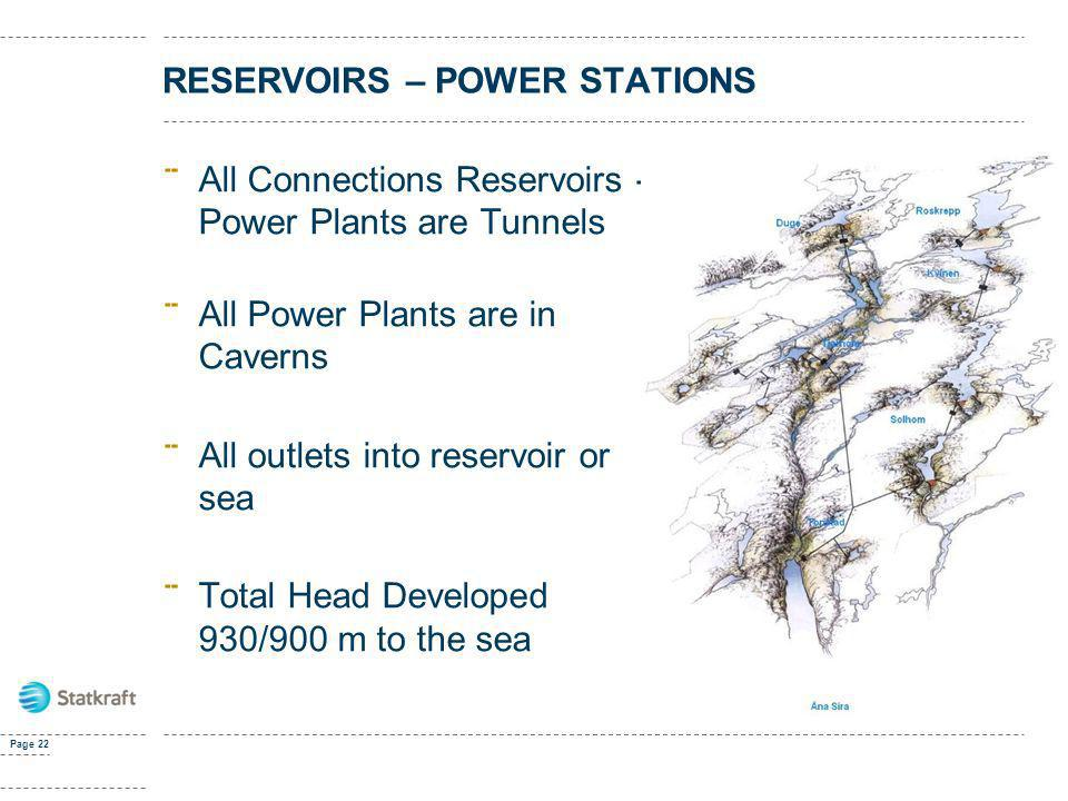 RESERVOIRS – POWER STATIONS