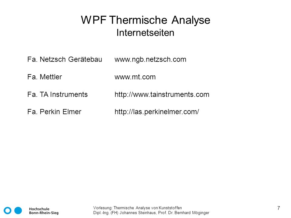 WPF Thermische Analyse Internetseiten