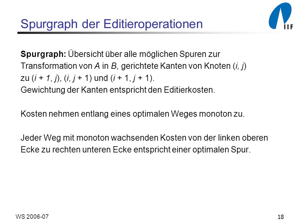 Spurgraph der Editieroperationen