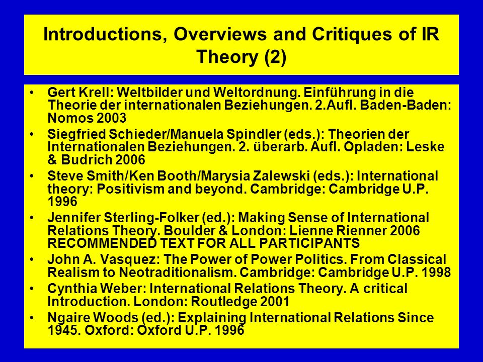 Introductions, Overviews and Critiques of IR Theory (2)