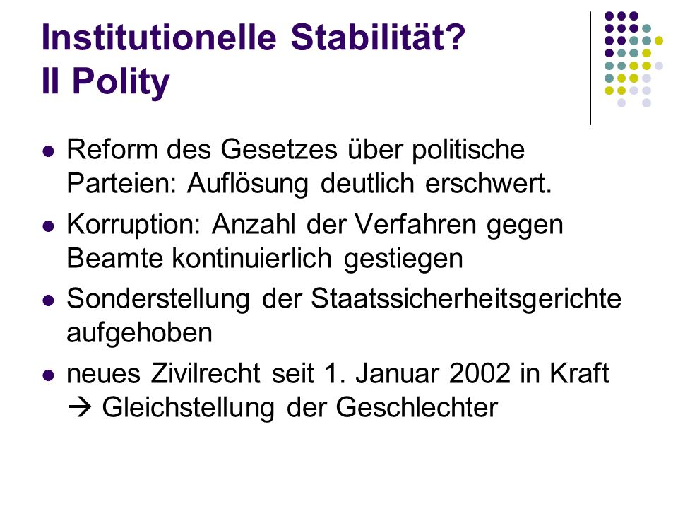 Institutionelle Stabilität II Polity