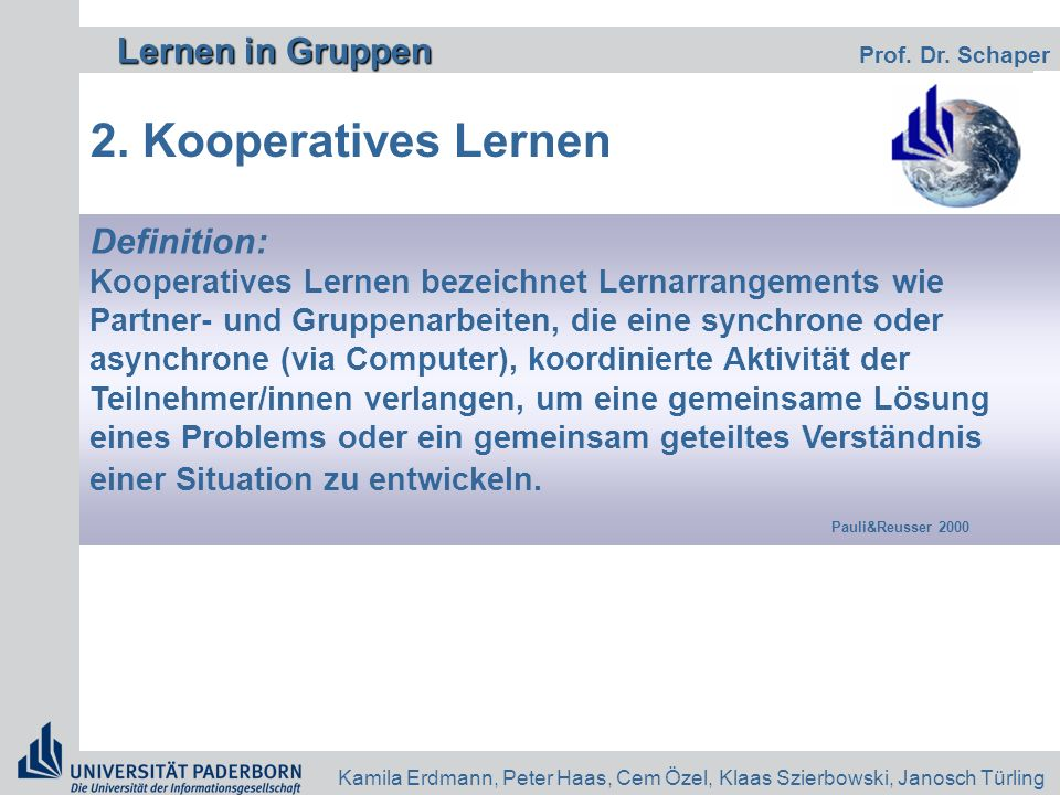 2. Kooperatives Lernen Definition: