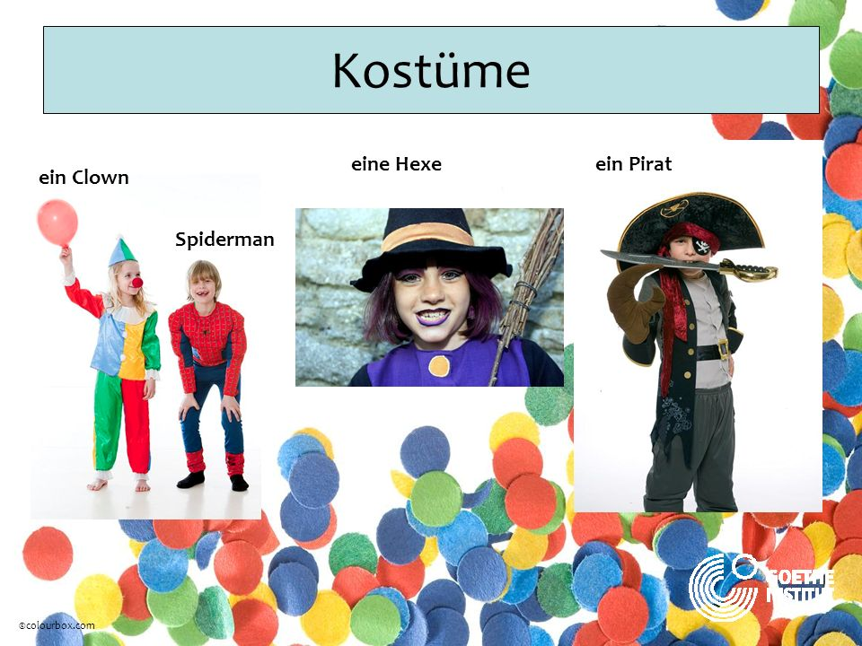Kostüme eine Hexe ein Pirat ein Clown Spiderman ©colourbox.com