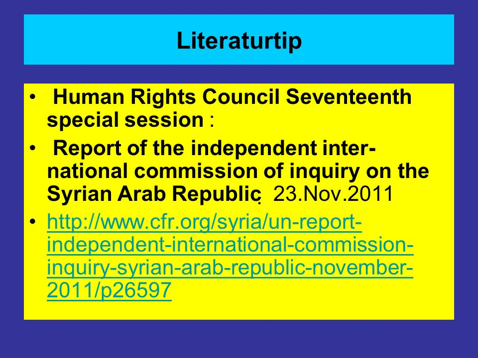 Literaturtip Human Rights Council Seventeenth special session :