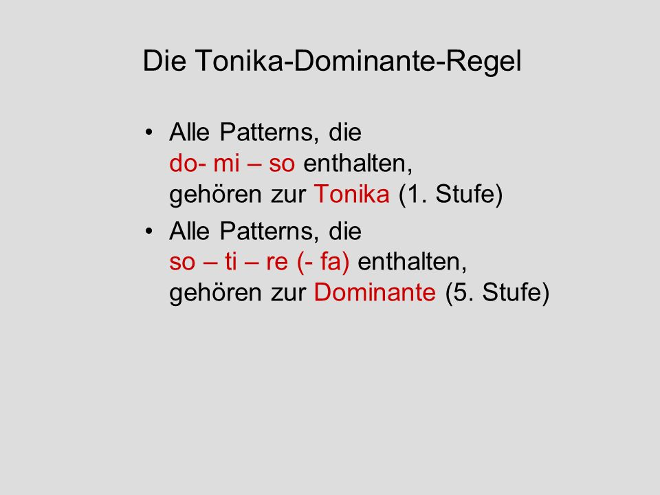 Die Tonika-Dominante-Regel