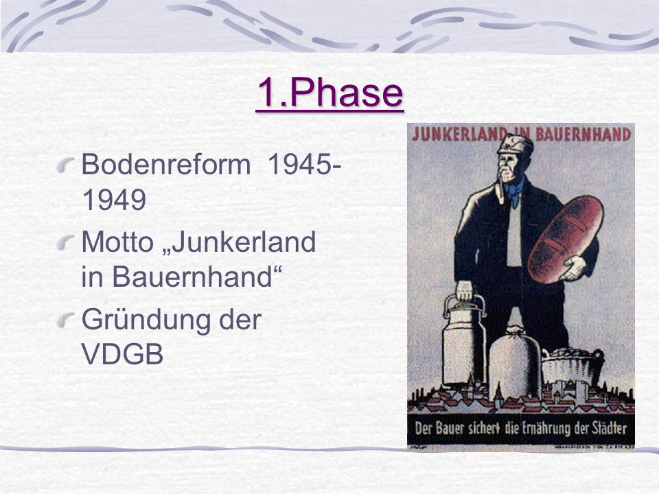 "1.Phase Bodenreform Motto ""Junkerland in Bauernhand"