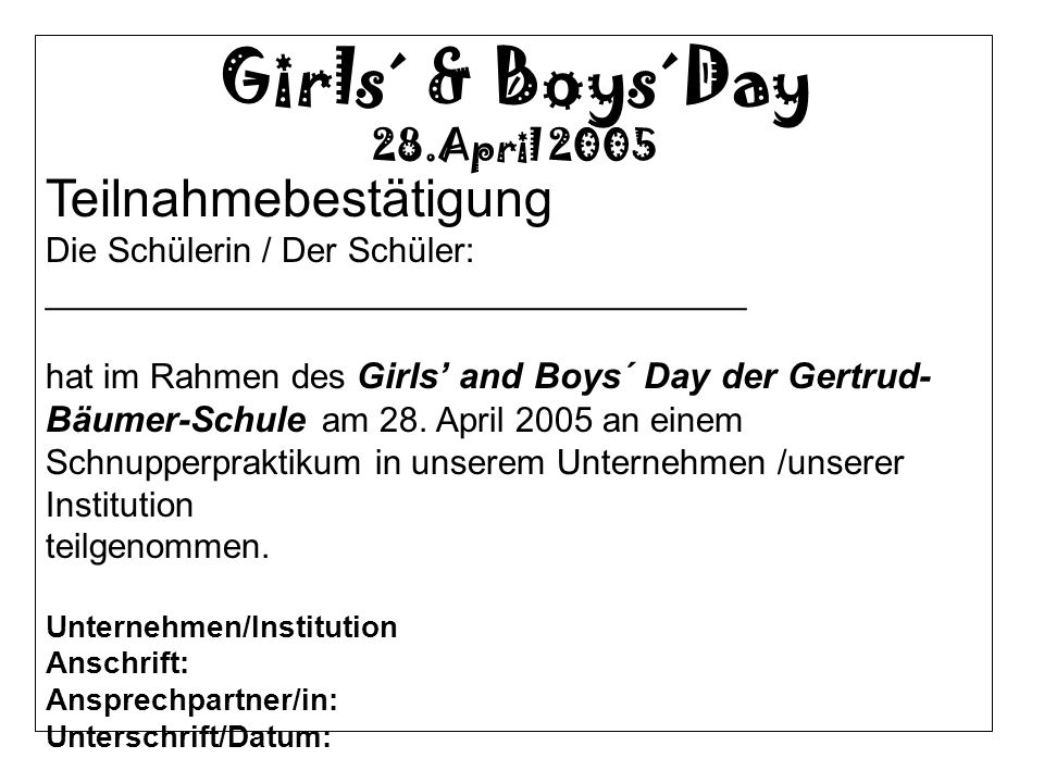 Girls´ & Boys´Day Teilnahmebestätigung 28.April 2005