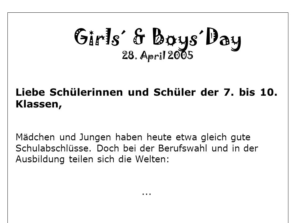Girls´ & Boys´Day 28. April 2005
