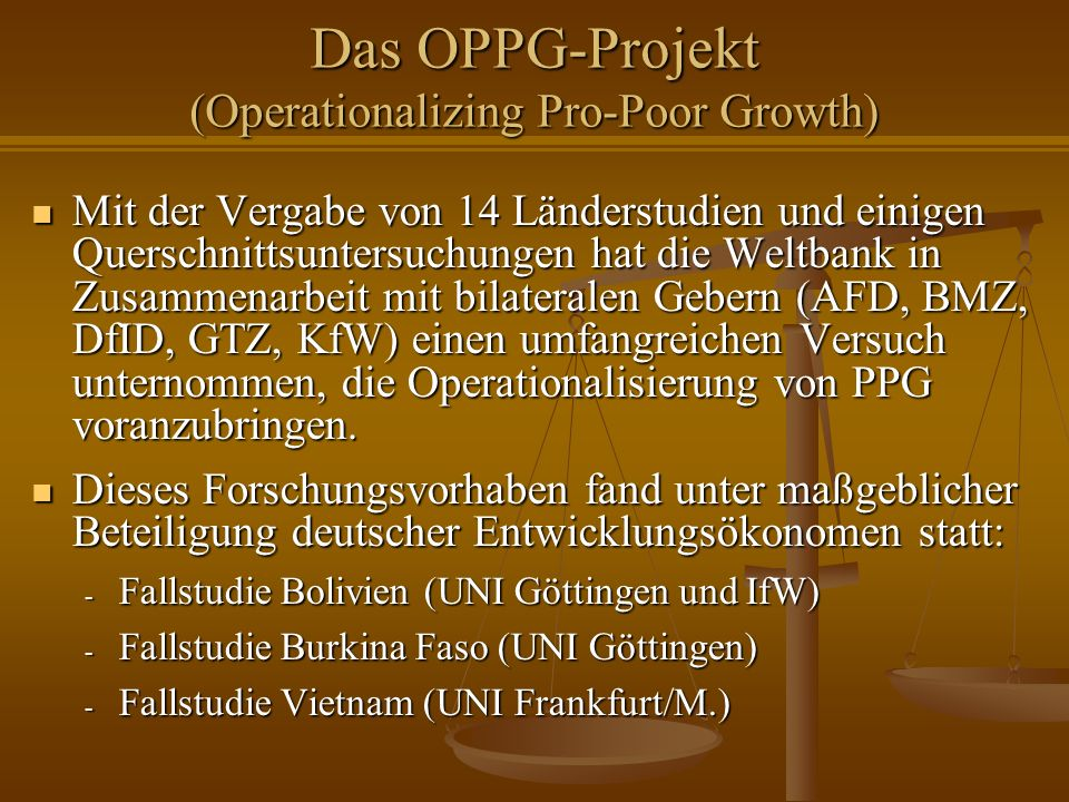 Das OPPG-Projekt (Operationalizing Pro-Poor Growth)