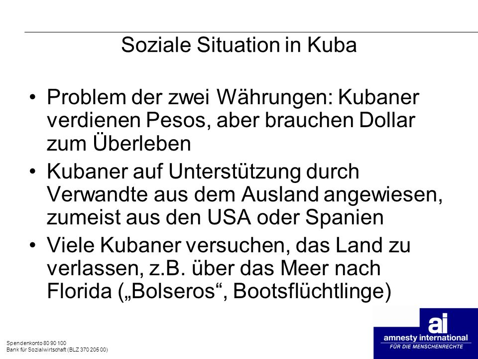Soziale Situation in Kuba