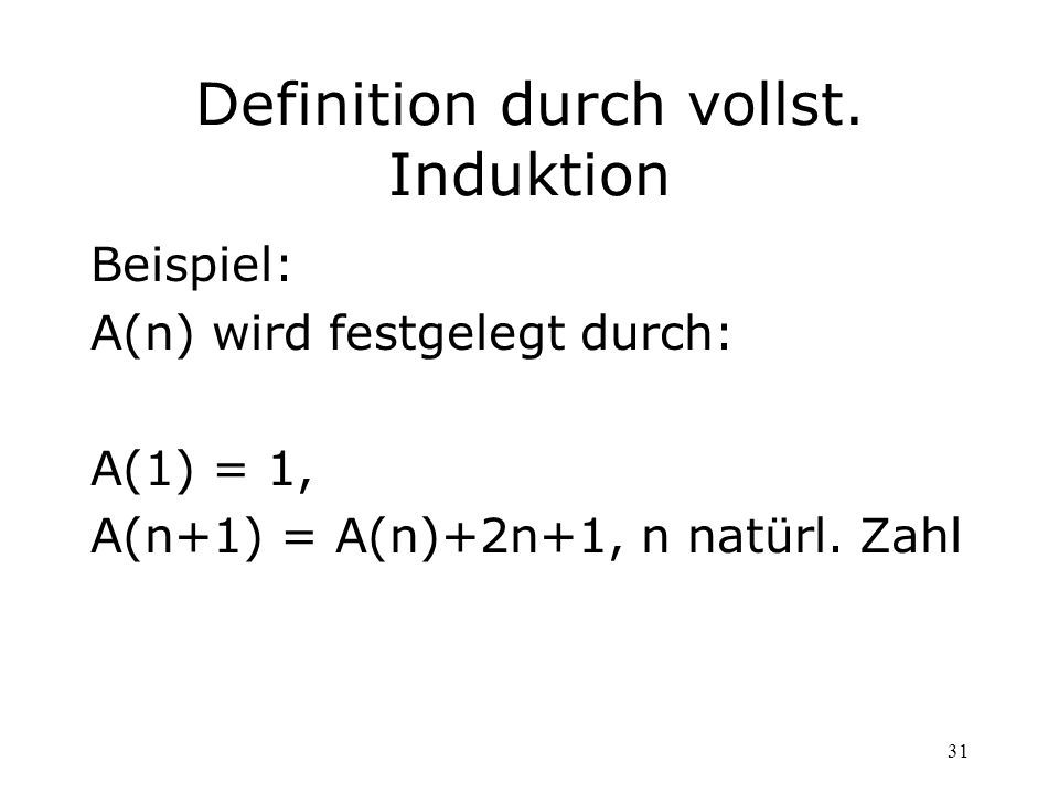 Definition durch vollst. Induktion