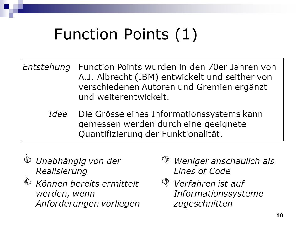Function Points (1) Entstehung