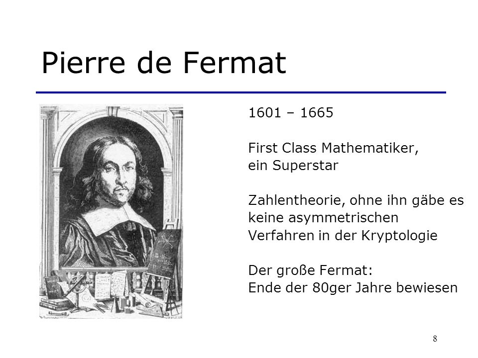 Pierre de Fermat 1601 – 1665 First Class Mathematiker, ein Superstar