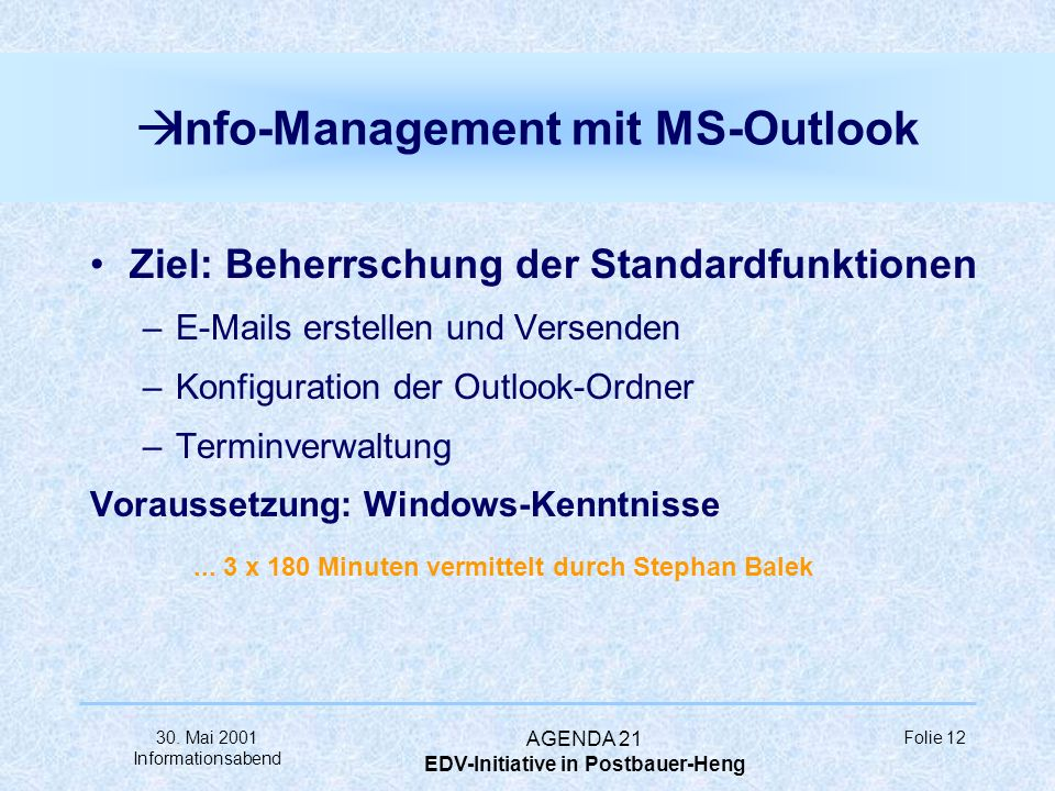 Info-Management mit MS-Outlook