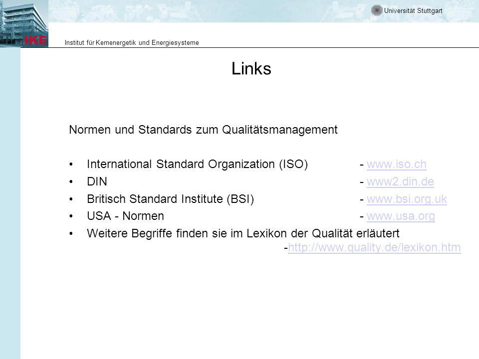 Links Normen und Standards zum Qualitätsmanagement