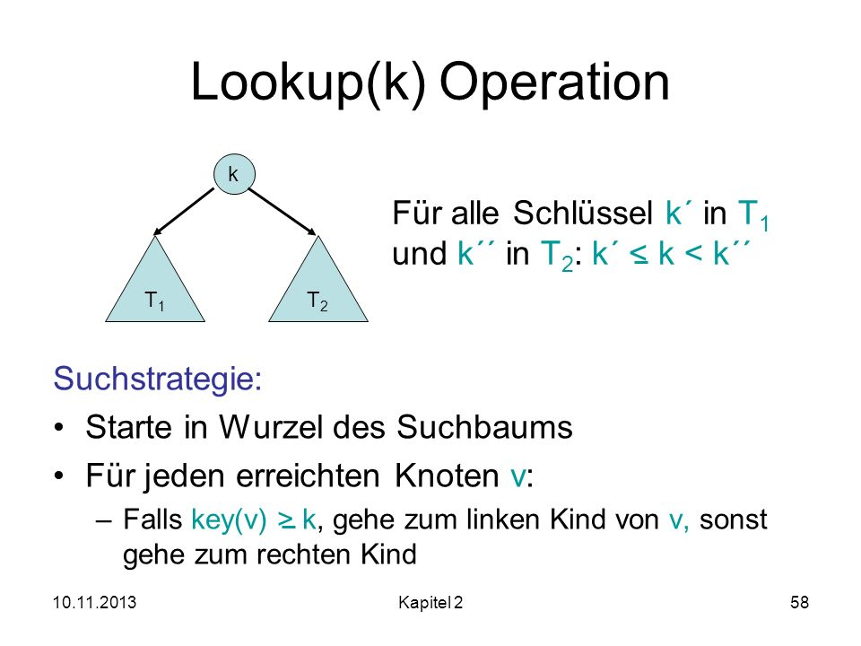 Lookup(k) Operation Für alle Schlüssel k´ in T1