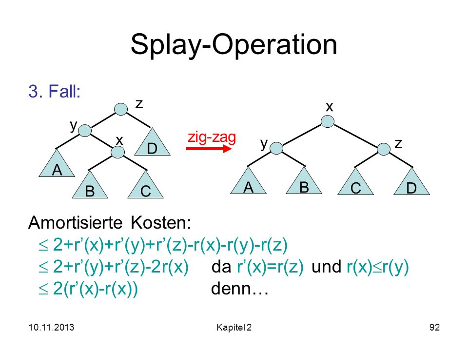 Splay-Operation 3. Fall: Amortisierte Kosten: