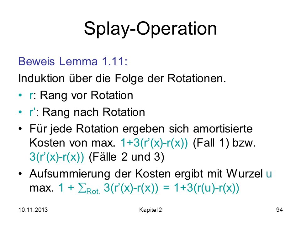 Splay-Operation Beweis Lemma 1.11: