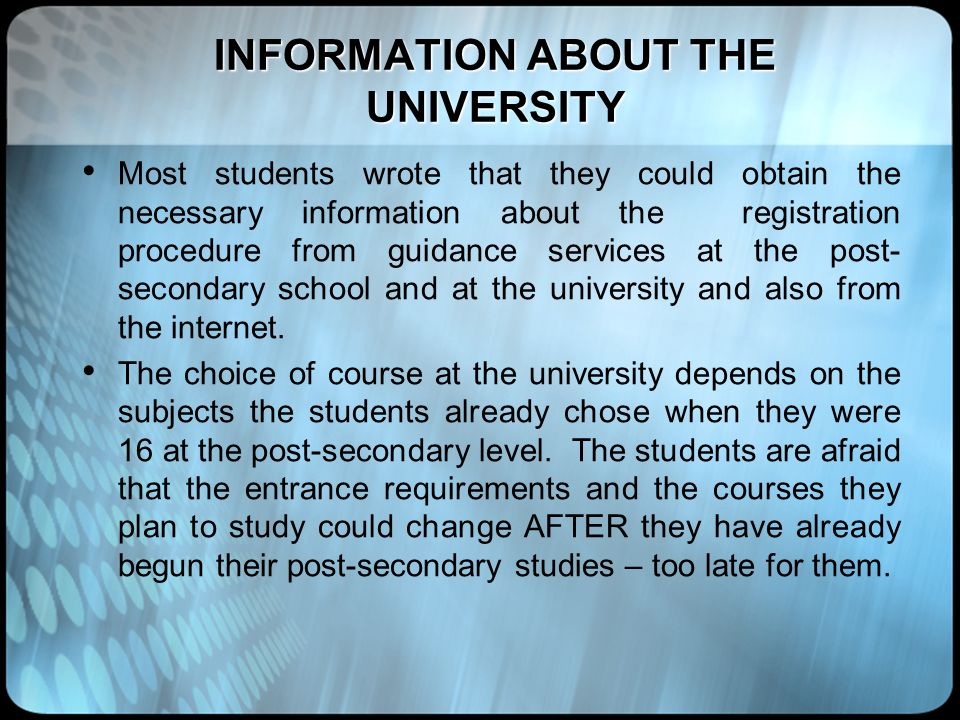 INFORMATION ABOUT THE UNIVERSITY