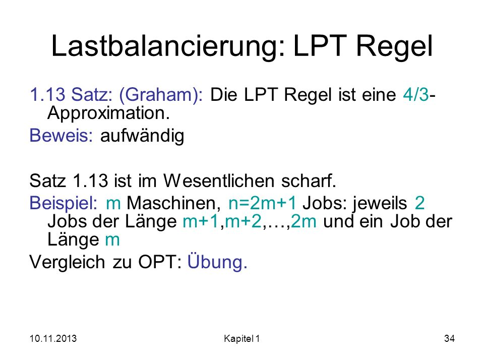 Lastbalancierung: LPT Regel