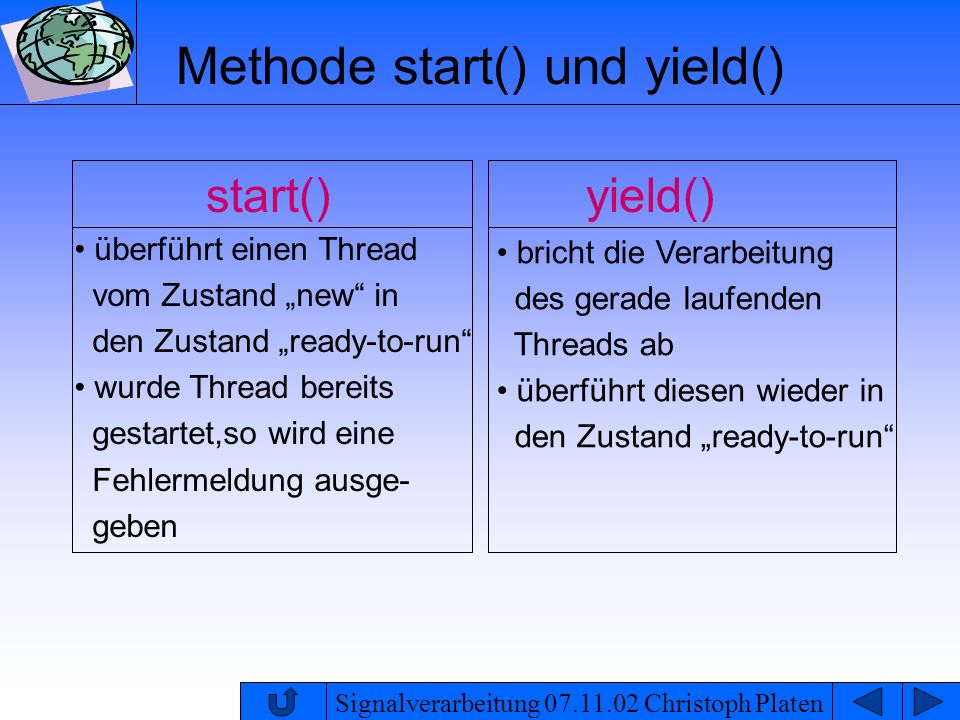 Methode start() und yield()