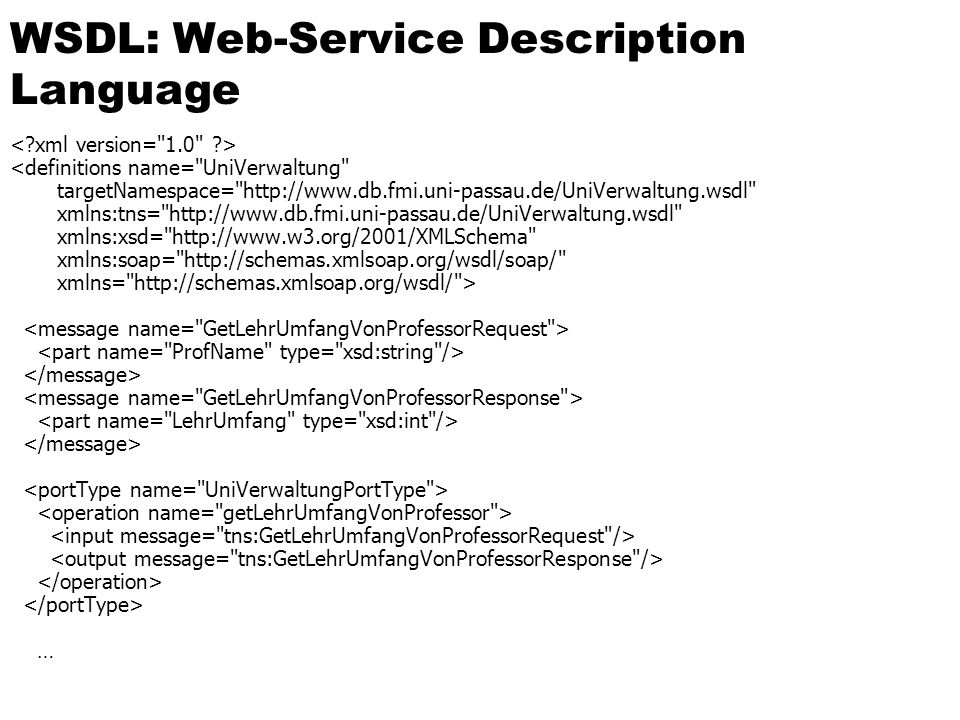 WSDL: Web-Service Description Language