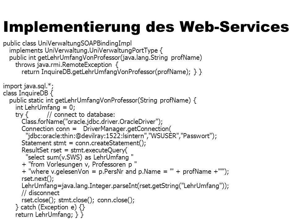 Implementierung des Web-Services