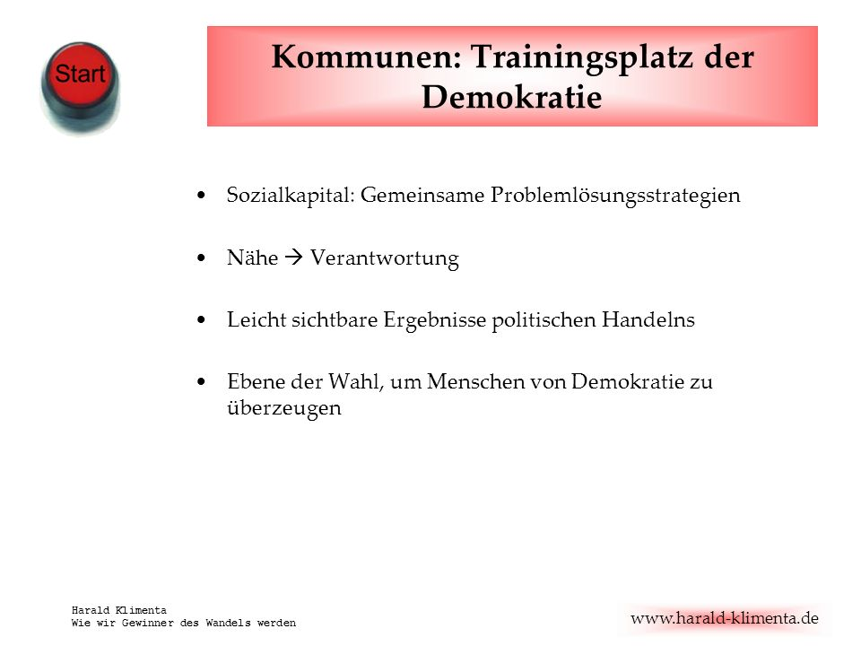 Kommunen: Trainingsplatz der Demokratie