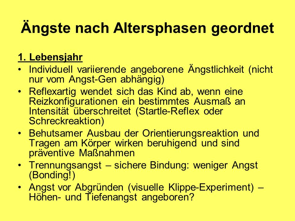 Ängste nach Altersphasen geordnet
