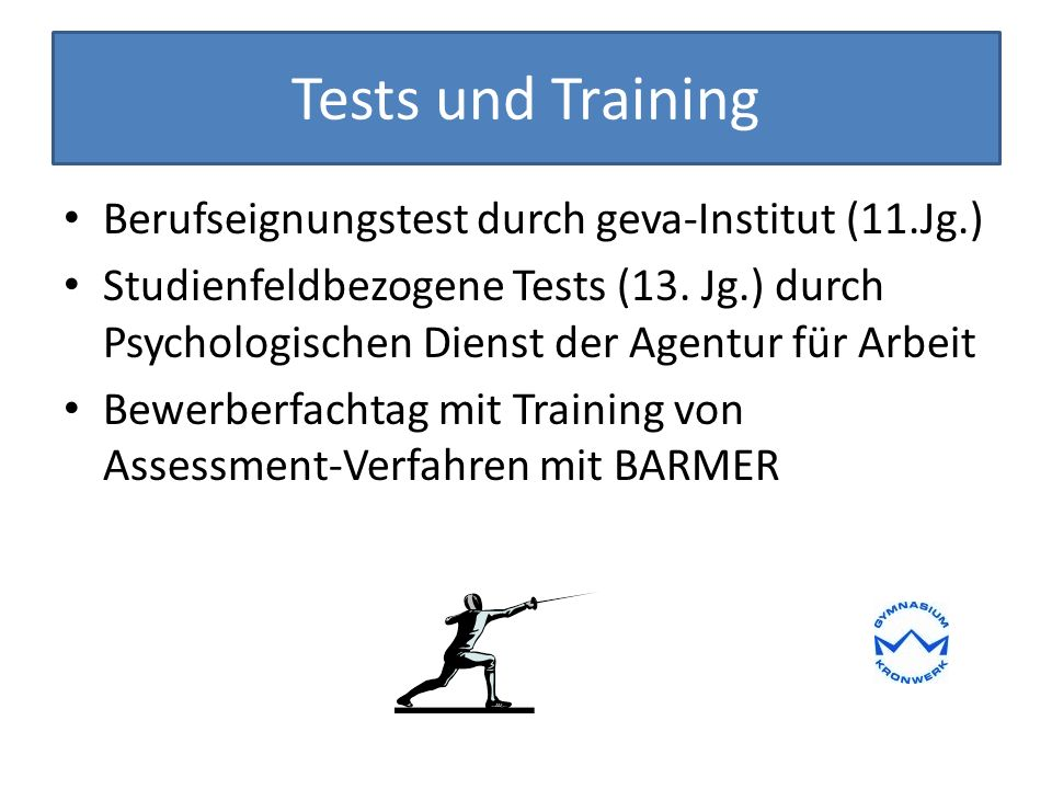 Tests und Training Berufseignungstest durch geva-Institut (11.Jg.)