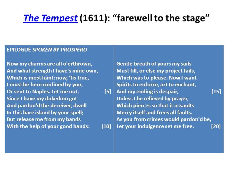 The Tempest (1611): farewell to the stage