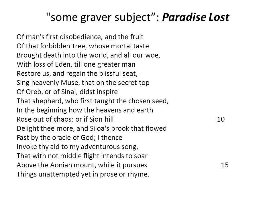 some graver subject : Paradise Lost