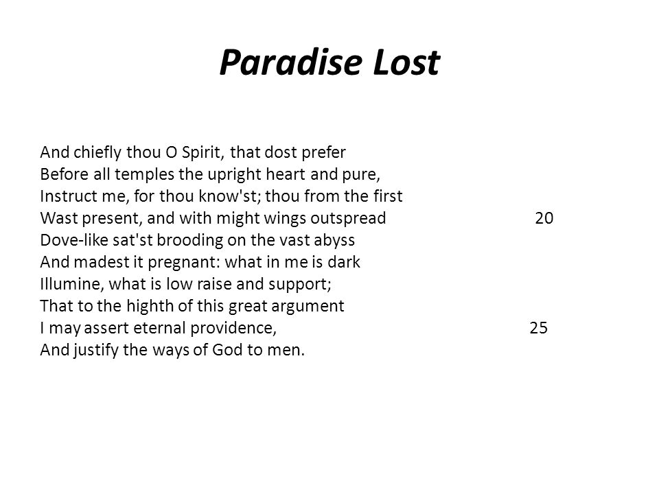 Paradise Lost And chiefly thou O Spirit, that dost prefer