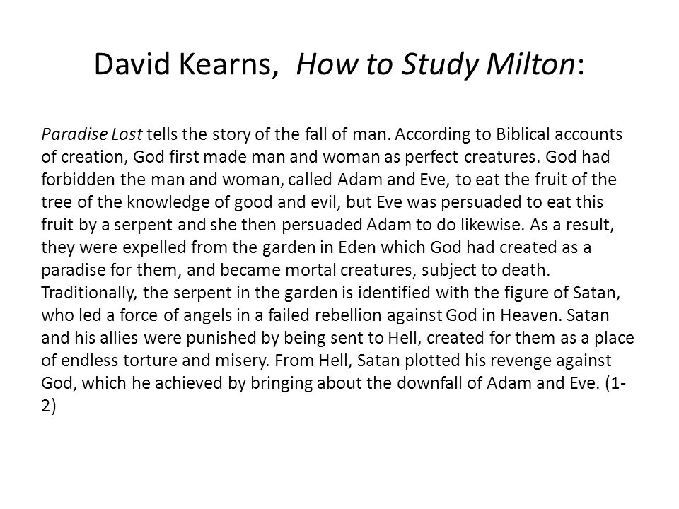 David Kearns, How to Study Milton: