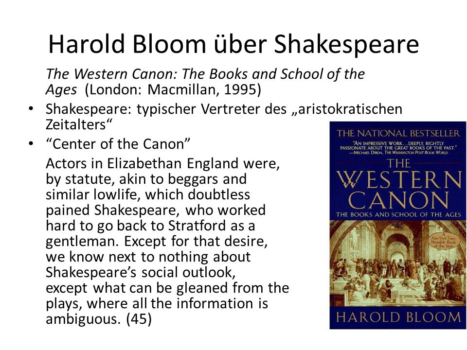 Harold Bloom über Shakespeare