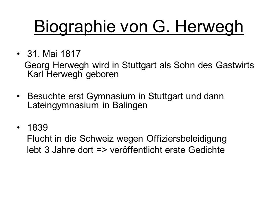 Biographie von G. Herwegh