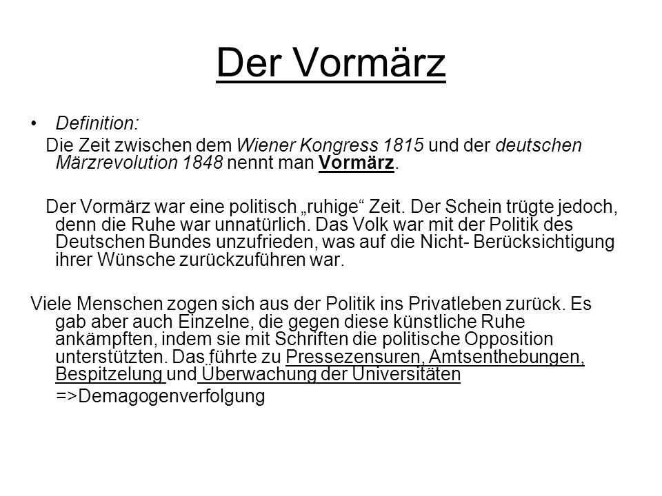 Der Vormärz Definition: