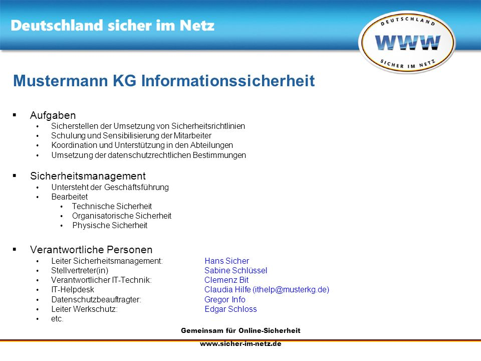 Mustermann KG Informationssicherheit