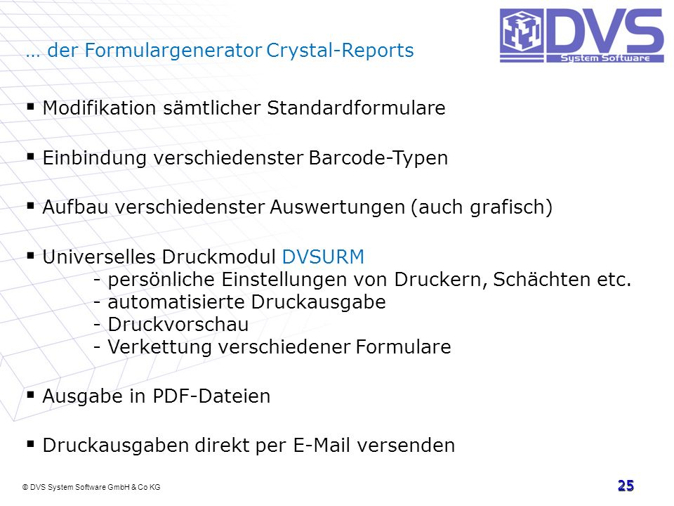 … der Formulargenerator Crystal-Reports