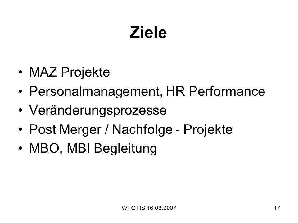 Ziele MAZ Projekte Personalmanagement, HR Performance