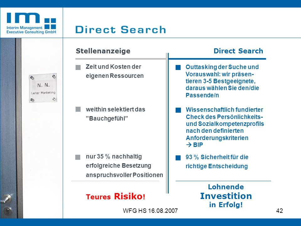 Investition Stellenanzeige Direct Search Lohnende Teures Risiko!