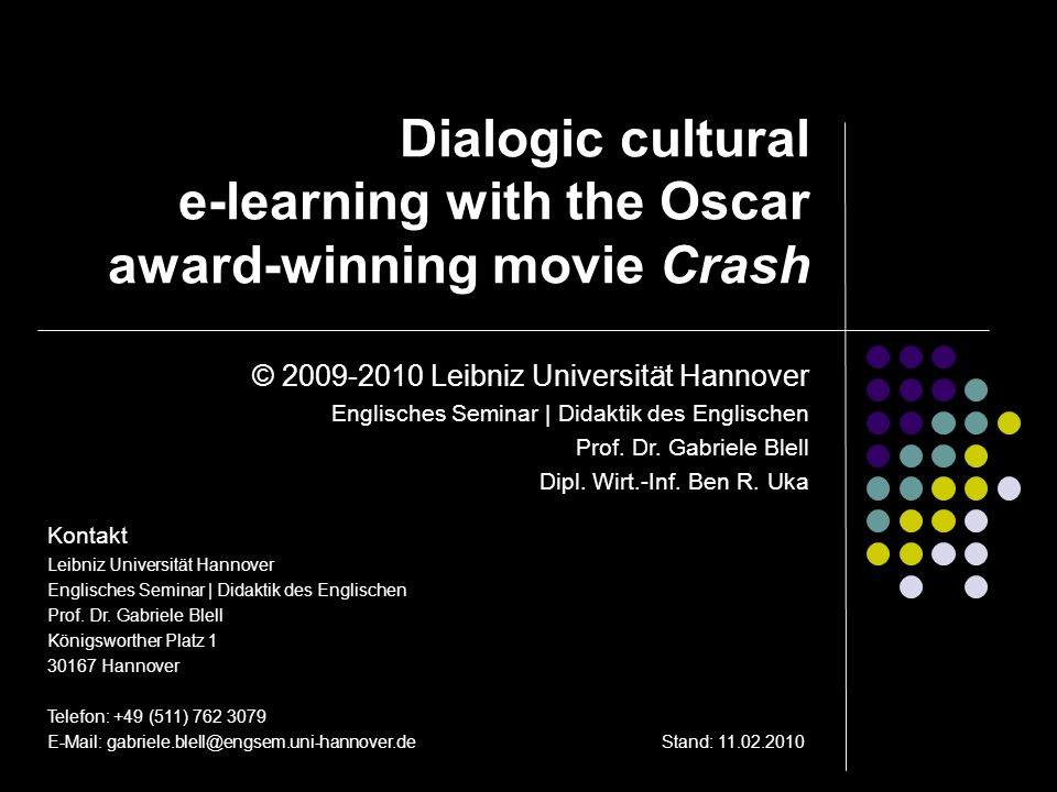 Dialogic cultural e-learning with the Oscar award-winning movie Crash