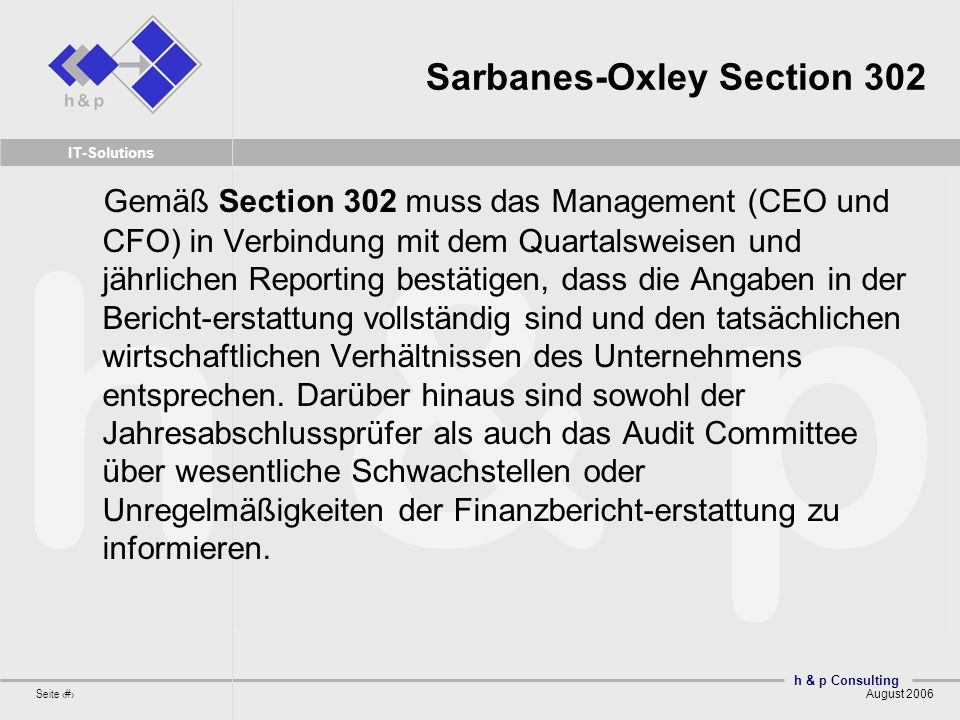 Sarbanes-Oxley Section 302