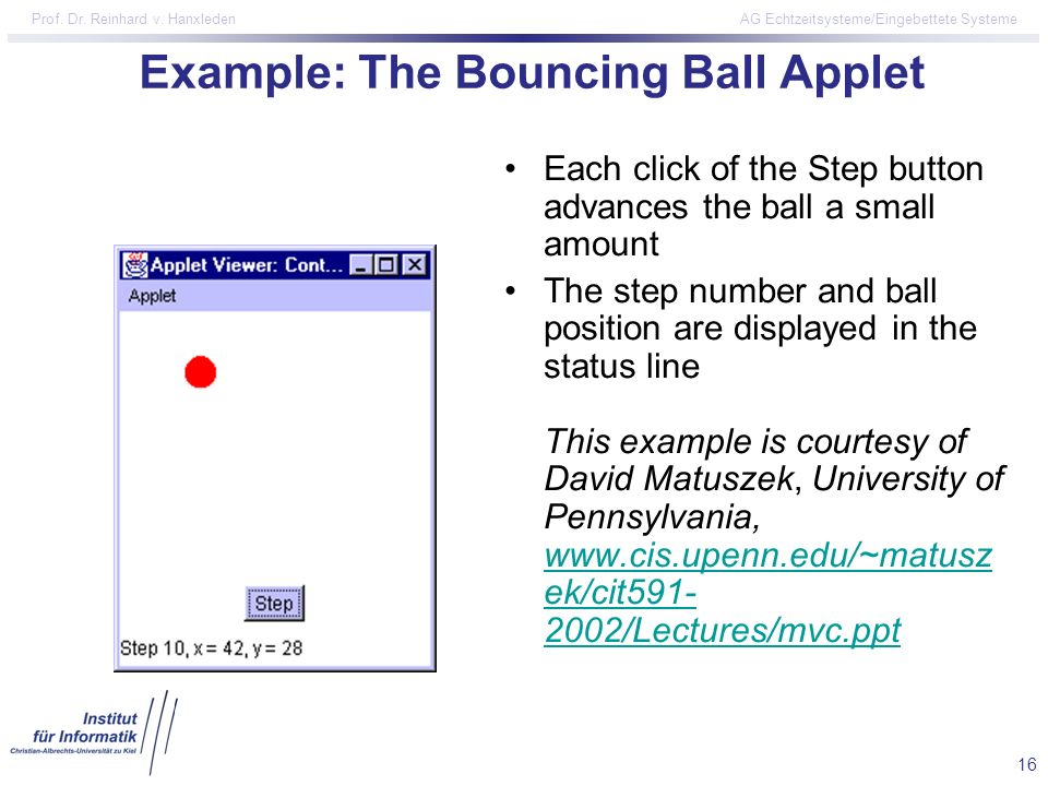 Example: The Bouncing Ball Applet